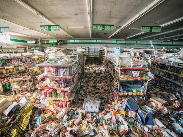 An abandoned shop inside the Fukushima Exclusion Zone.