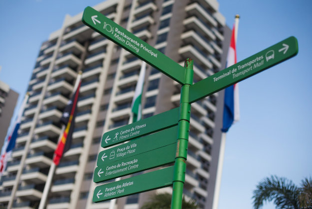 Bilingual street signs in Rio's Olympic village.