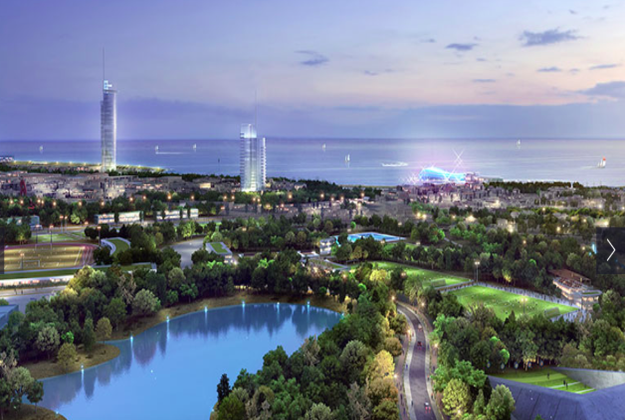 An artist's impression of how the abandoned airport could be turned into a major coastal development in Athens