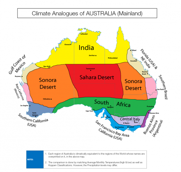 Surprising climate maps show similarities between countries – Show Map of Australia