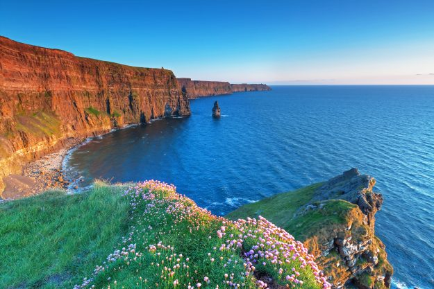 The stunning view from the Cliffs of Moher in County Clare, Ireland.
