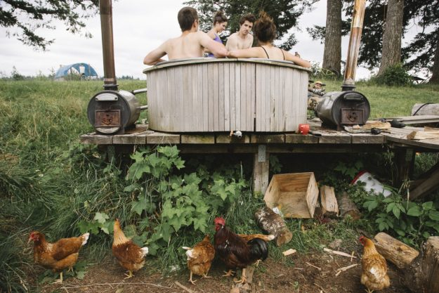 Foster Huntington and friends enjoying his wood-fired hot tub. Image: Foster Huntington