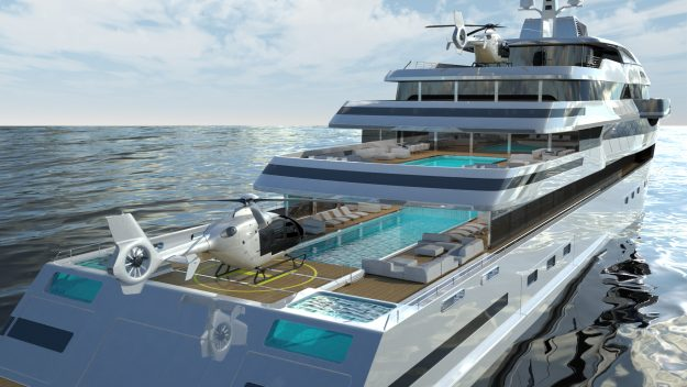 Plans include helicopter landing pads and multi deck swimming pools.