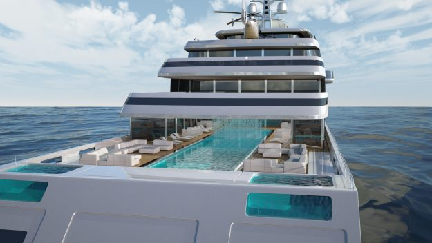 The yacht designs feature an owner's suite with his and hers saunas as well as a casino and cocktail bar.
