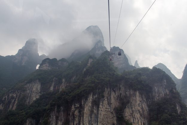 The cable cars in the Zhangjiajie National Forest