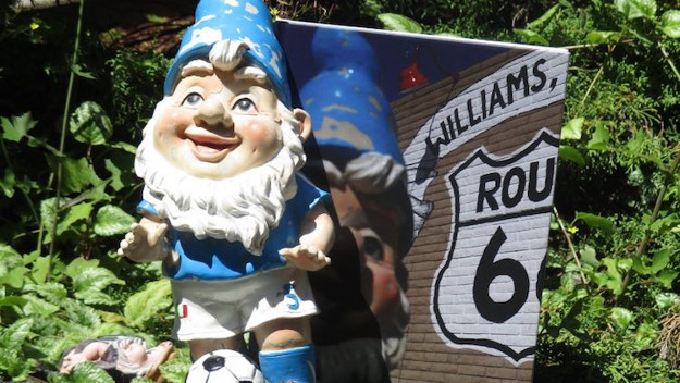 A gnome has gone on a road trip.