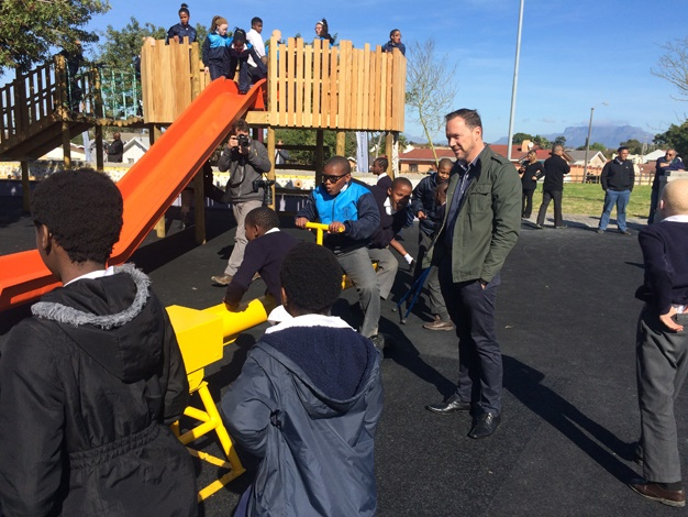 Students from the nearby school for the blind give the park a test run.