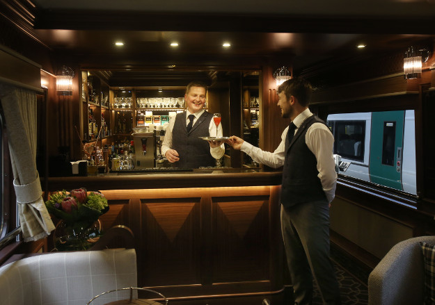 The bar and lounge on board the Belmond Grand Hibernian.