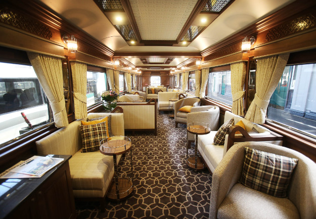 The lounge on board the Belmond Grand Hibernian, pictured after it arrived into Heuston Station. The Belmond Grand Hibernian is the first luxury sleeper touring train in Ireland, the train collected its first customers before will be departing for Cork.