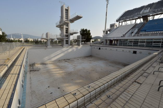 The Olympic Aquatic Center in Athens, Greece.