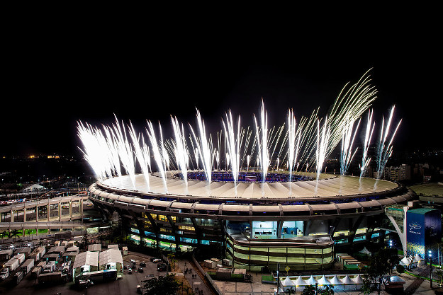 Fireworks explode above the Maracana stadium during the rehearsal of the opening ceremony of the Olympic Games on 3 August.