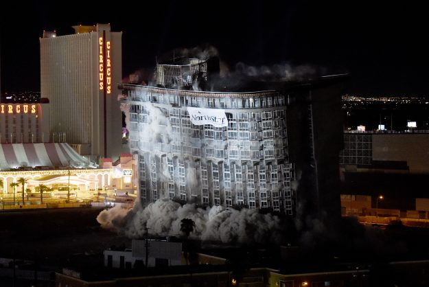 The 22-story Monte Carlo tower at the shuttered Riviera Hotel and Casino was imploded this morning along with the property's other remaining structures.
