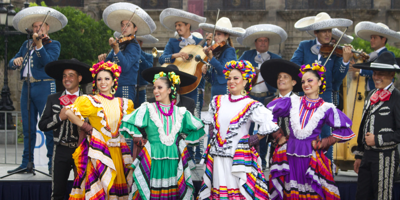 Mariachi music is played at the festival.
