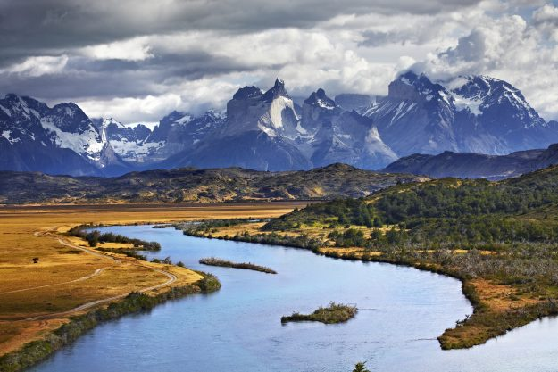 Paine River in UNESCO World Heritage Site Torres del Paine National Park