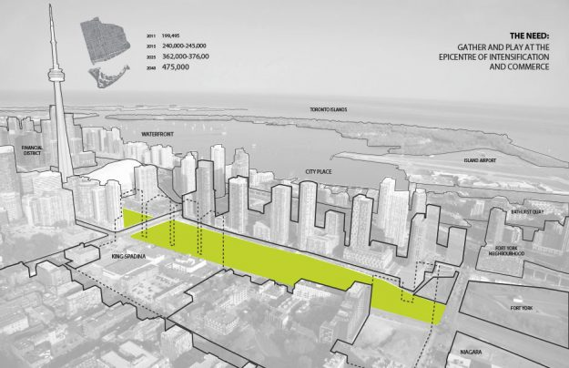 Proposed plans for the new Rail Deck Park in downtown Toronto.