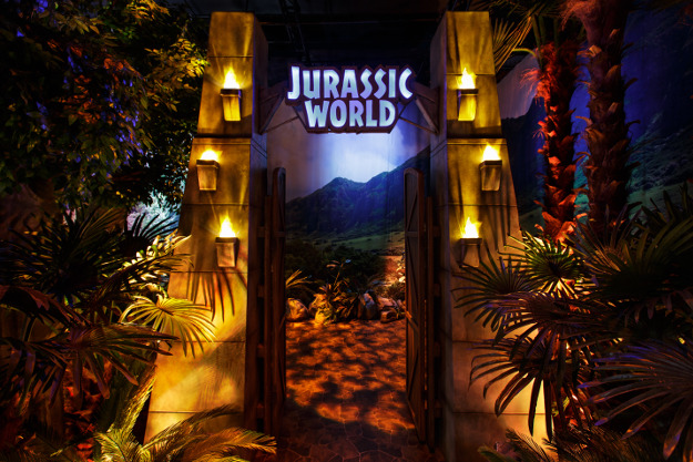The opening gate to Jurassic World: The Exhibition.