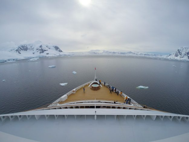 View from on board the Seabourn Cruise in Antartica.