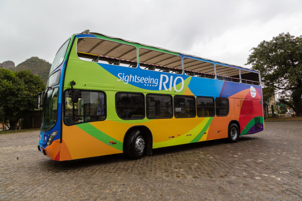 The new Rio double-decker bus is decked out in eye-catching colours.