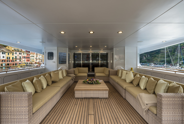 The interior of the Superyacht for charter