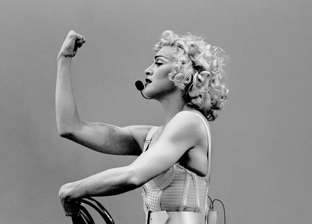 Madonna performing in the Blond Ambition tour 1990.
