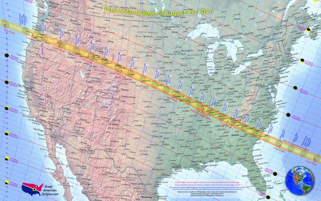 The path of the total eclipse on August 21 2017. Image: Michael Zeiler/Great American Eclipse.