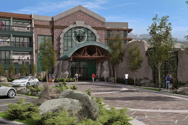 Concept art for the front of the Stone beer-friendly Hotel