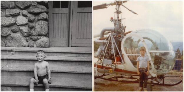 Old family photos. 3 year old John sits on the steps of the post office where his parents first met and Crane Flat HeliPad, in 1966.