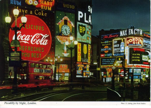 Piccadilly by Night, London from the John Hinde Collection currently being exhibited in China.