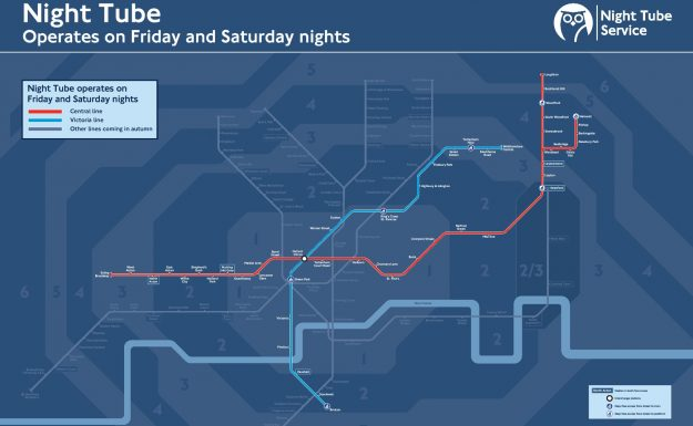 How the London Night Tube will look for the rest of the summer.