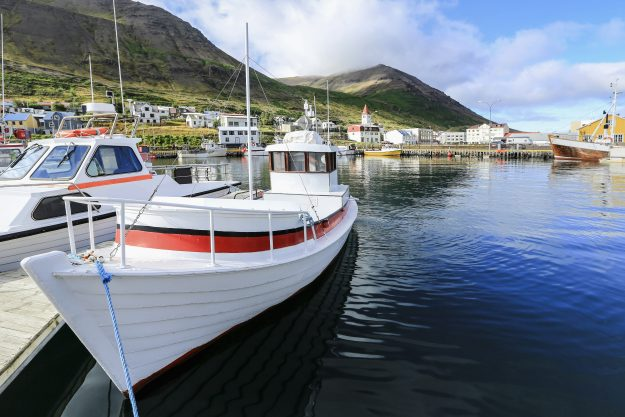 Akureyri harbor. Motorboats, yachts and small fishing ships. All brand names and registration numbers removed.
