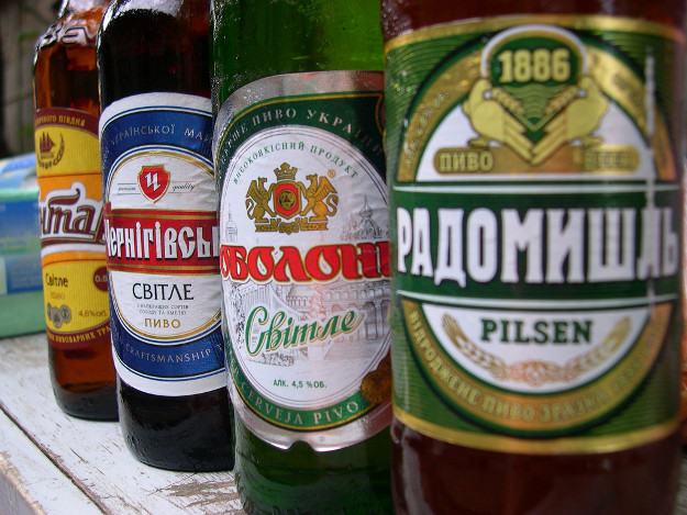 A selection of beers in Ukraine.