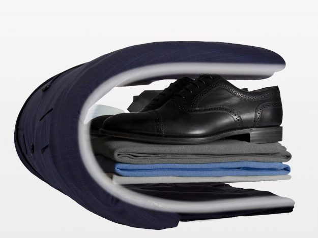 Luggage brand Vocier has patented a system that claims to leave suits wrinkle-free. Image: Vocier