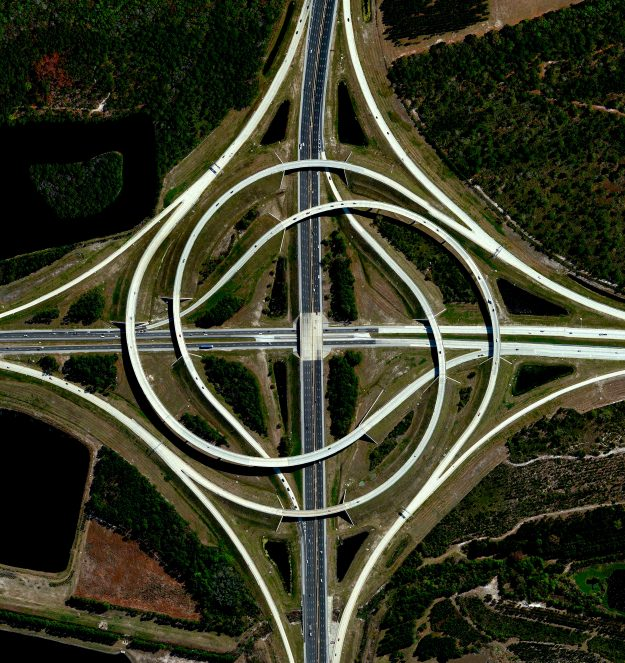 Jacksonville, Florida, USA. A turbine interchange connecting two highways.