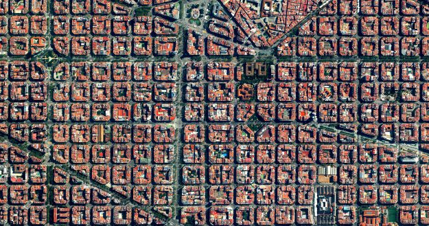 The Eixample District in Barcelona, Spain. Characterised by a strict grid pattern and apartments with communal courtyards.