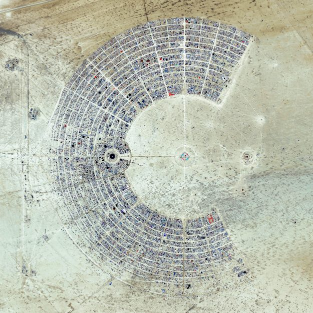 Black Rock Desert, Nevada in USA. Burning Man festival, a week long annual event drawing 65,000 participants each year.