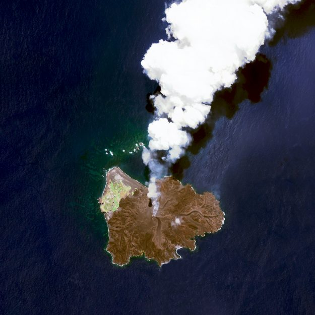 Nishino Island, Japan. Nishinoshima is a volcanic island located 940 kilometres south of Tokyo. Starting in November 2013, the volcano began to erupt and continued to do so until August 2015.