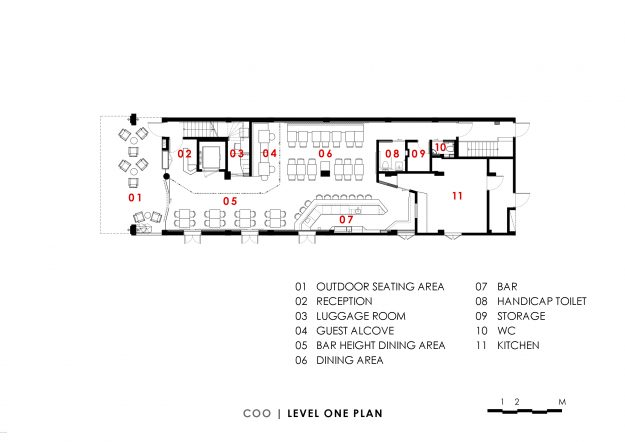The floor plan for level one showing the different space available to guests.