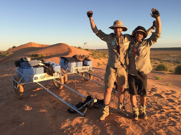 Sebastian Copeland and Marke George after ascending the final dune of the Simpson Desert.