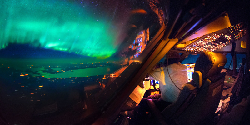 PIC BY CHRISTANN VAN HEIJST AND DAANS KRANS/CATERS NEWS - (PICTURED: An amazing view of the Northern Lights from the cockpit. ) - This is truly heavenly weather – as pictures taken from an airplane cockpit reveal what pilots see from above. It looks like at cruising altitude the weather really hots up, with the flight deck revealing some amazing scenes. Thunderstorms light up the insides of clouds, lightening streaks across the sky like cracks in a windscreen, the northern lights sweep uninterrupted across the sky and the galaxy stretches on forever. The pictures were captured by senior first officer Christiaan van Heijst, a 33-year-old from the Netherlands, and his friend Daan Krans. SEE CATERS COPY.