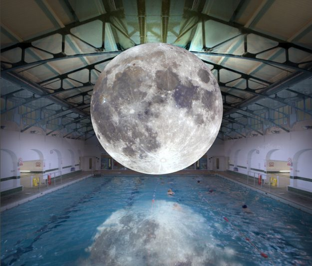 An evening with the Moon will be part of the traveling exhibition, allowing visitors to go for a swim beneath the stunning lunar replica.
