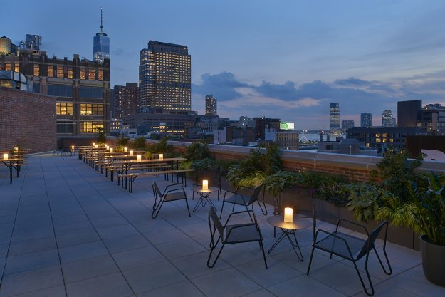 The Arlo rooftop at night.
