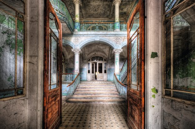 Beelitz-Heilstätten Hospital in Brandenburg, Germany. Not far from Berlin, the building was a military hospital during World War I. After World War II it served Soviet troops based in East Germany, many of its wings being abandoned after the Russian army left in 1994.