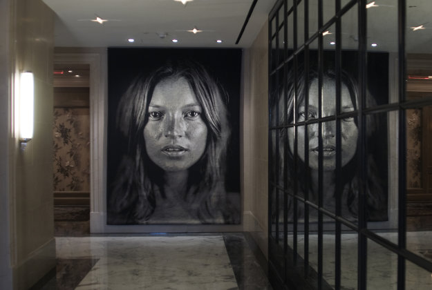 The Kate Moss tapestry by Chuck Close.