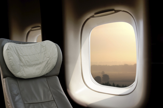 Business class seat on an airplane.