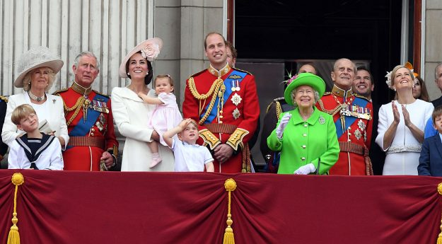 Queen Elizabeth ll and Prince Philip, Duke of Edinburgh with their family on the balcony of Buckingham Palace following the Trooping the Colour ceremony to mark the Queen's official 90th Birthday Image: Anwar Hussein/WireImage/Getty Images