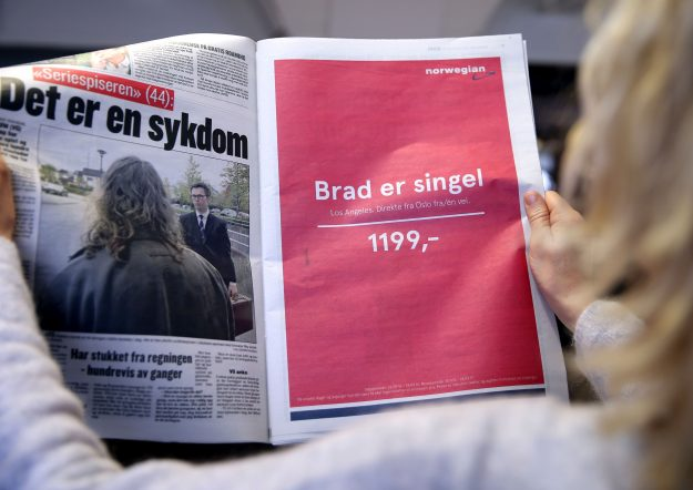 Norwegian Airlines placed a tongue-in-cheek advert around Brad Pitt being single again. Image: Vidar Ruud/AFP/Getty Images
