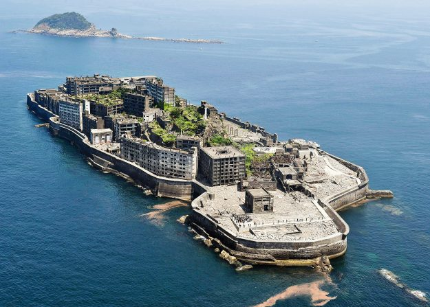 Hashima, Japan. Used as the villain's base in the 2012 James Bond film Skyfall and situated 9 miles off the coast from Nagasaki, the island was developed in 1887 as a mine to access undersea coal reserves. By 1959, more than 5,000 people were living and working there, but with coal supplies nearing depletion, the mine was closed in 1974, after which the residents soon left the island.