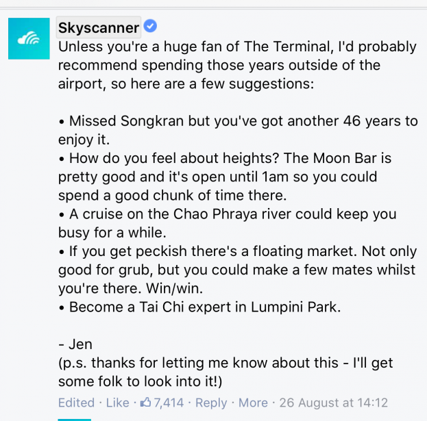 Skyscanners hilarious response to man's question about a 47 year stopover goes viral. Image: Facebook