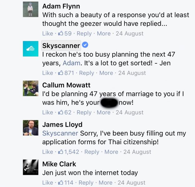 Skyscanners' hilarious response to man's question about a 47 year stopover goes viral. Image: Facebook