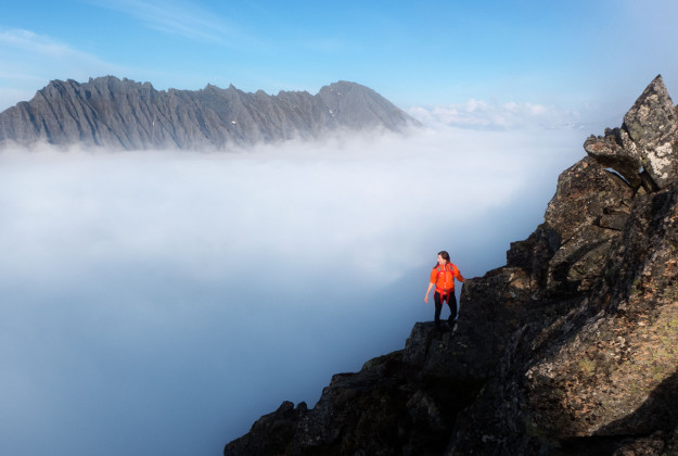 Up above the clouds, overlooking the Norwegian fjords